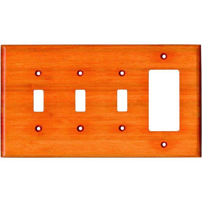 Bamboo Mandarin Orange Triple 3 Toggle / 1 Rocker GFCI Switch Covers