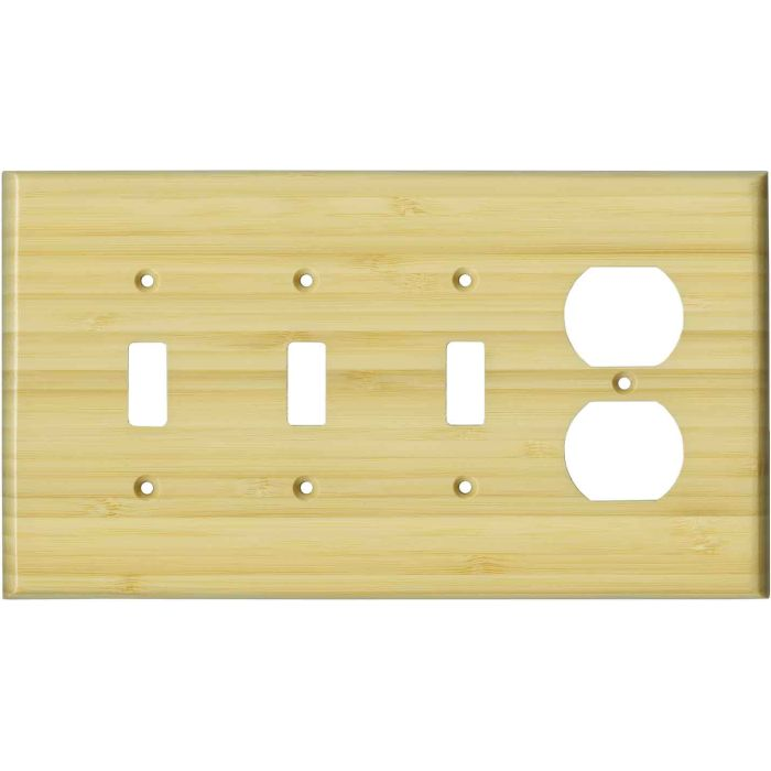 Bamboo Natural Satin Lacquer - 3 Toggle Switch Plates