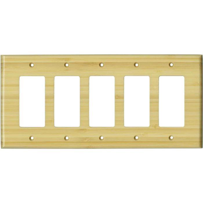 Bamboo Natural Satin Lacquer - 5 GFCI Rocker Decora Switch Covers