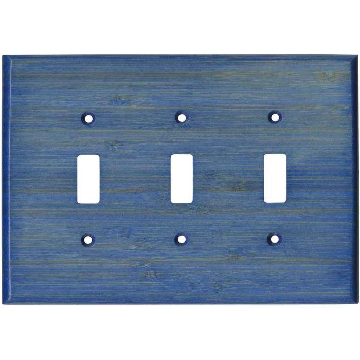Bamboo Smoke Blue - 3 Toggle Light Switch Covers