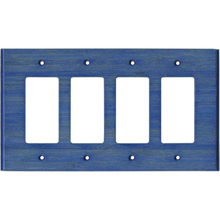 Bamboo Smoke Blue 4 Rocker GFCI Decorator Switch Plates