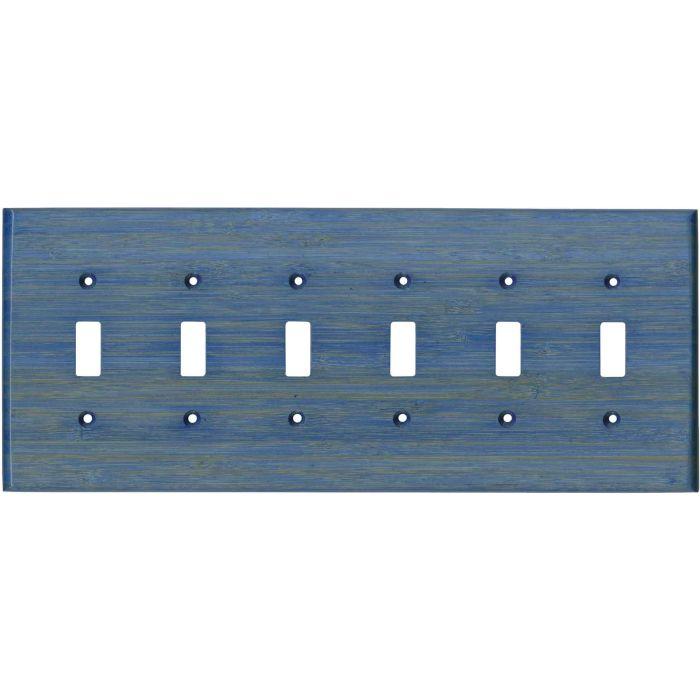Bamboo Smoke Blue 6 Toggle Light Switch Covers