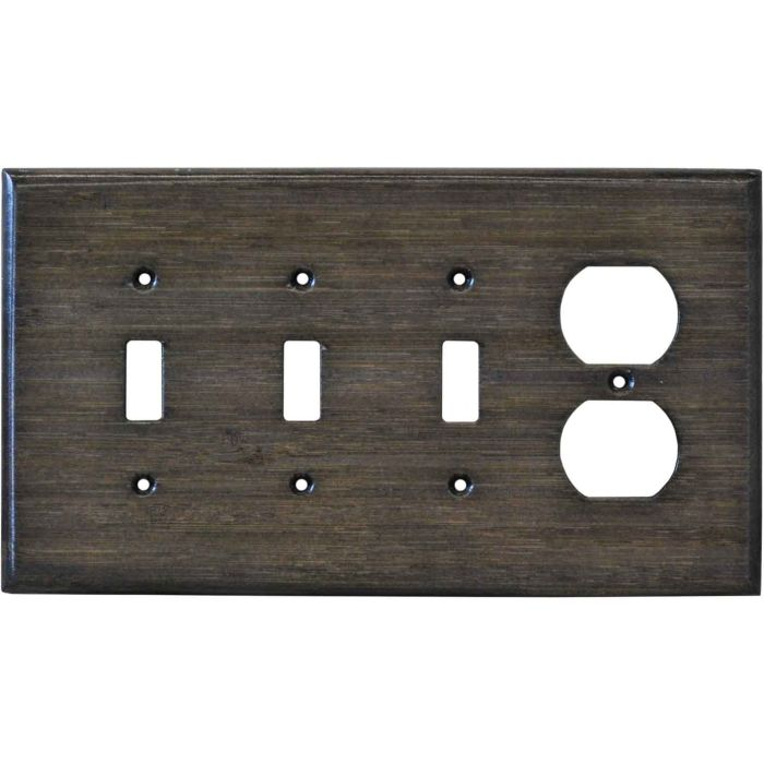 Bamboo Star Anise Black Combination Triple 3 Toggle / Outlet Wall Plate Covers
