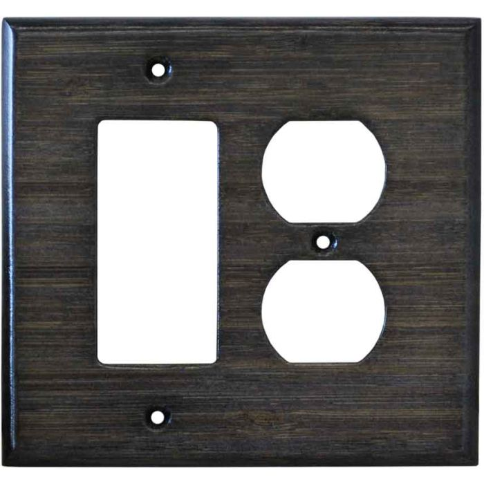Bamboo Star Anise Black Combination GFCI Rocker / Duplex Outlet Wall Plates
