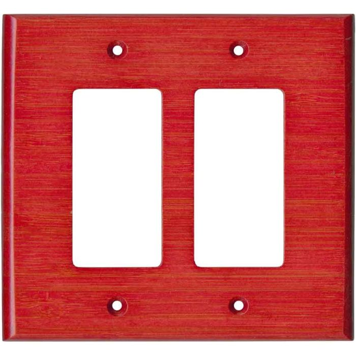 Bamboo Whipped Strawberry Red 2 Gang Double GFCI Rocker Decorator Wallplates