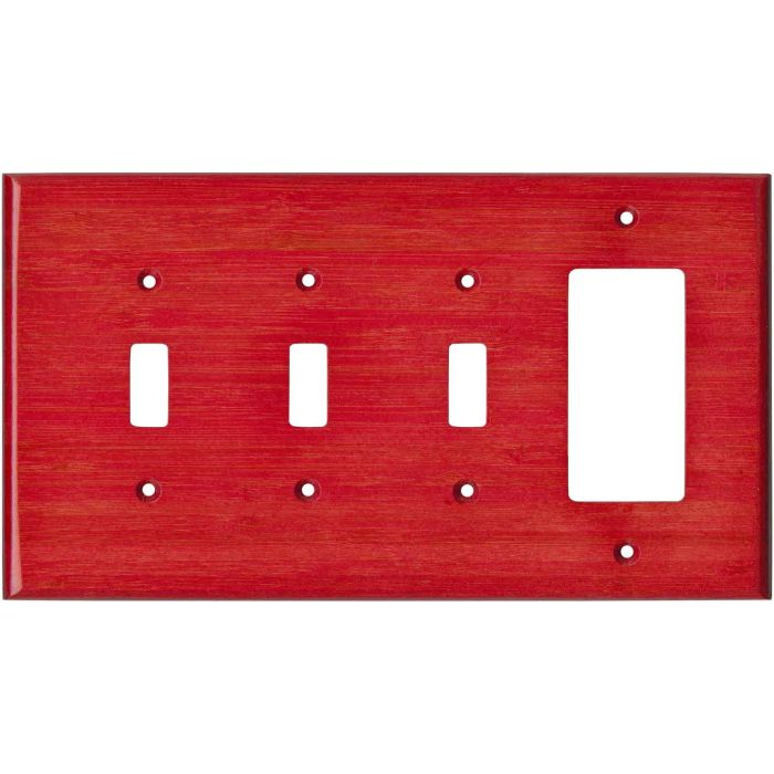 Bamboo Whipped Strawberry Red Triple 3 Toggle / 1 Rocker GFCI Switch Covers