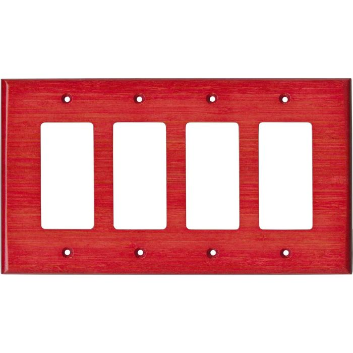 Bamboo Whipped Strawberry Red 4 Rocker GFCI Decorator Switch Plates