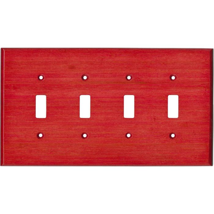 Bamboo Whipped Strawberry Red Quad 4 Toggle Light Switch Covers