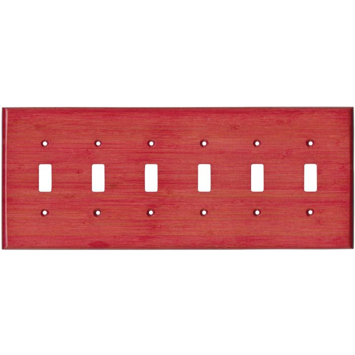 Bamboo Whipped Strawberry Red 6 Toggle Wall Plate Covers
