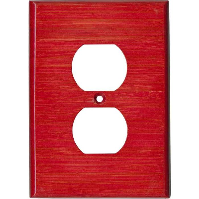 Bamboo Whipped Strawberry Red 1 Gang Duplex Outlet Cover Wall Plate