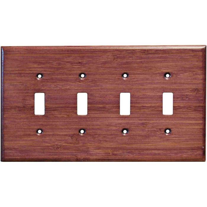Bamboo Wild Geranium Purple Quad 4 Toggle Light Switch Covers