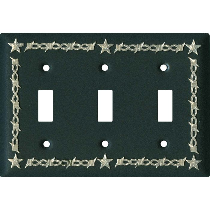 Barbwire - Star Black Triple 3 Toggle Light Switch Covers