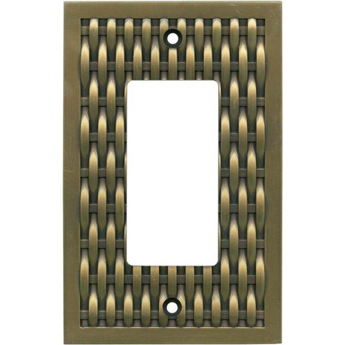 Basketweave Antique Brass Single 1 Gang GFCI Rocker Decora Switch Plate Cover