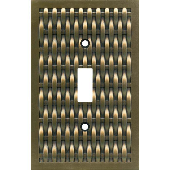 Basketweave Antique Brass Single 1 Toggle Light Switch Plates