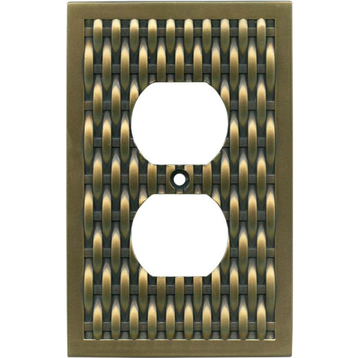Basketweave Antique Brass 1 Gang Duplex Outlet Cover Wall Plate