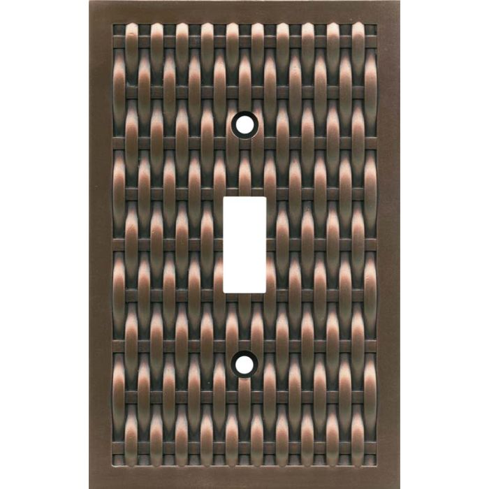Basketweave Antique Copper Single 1 Toggle Light Switch Plates