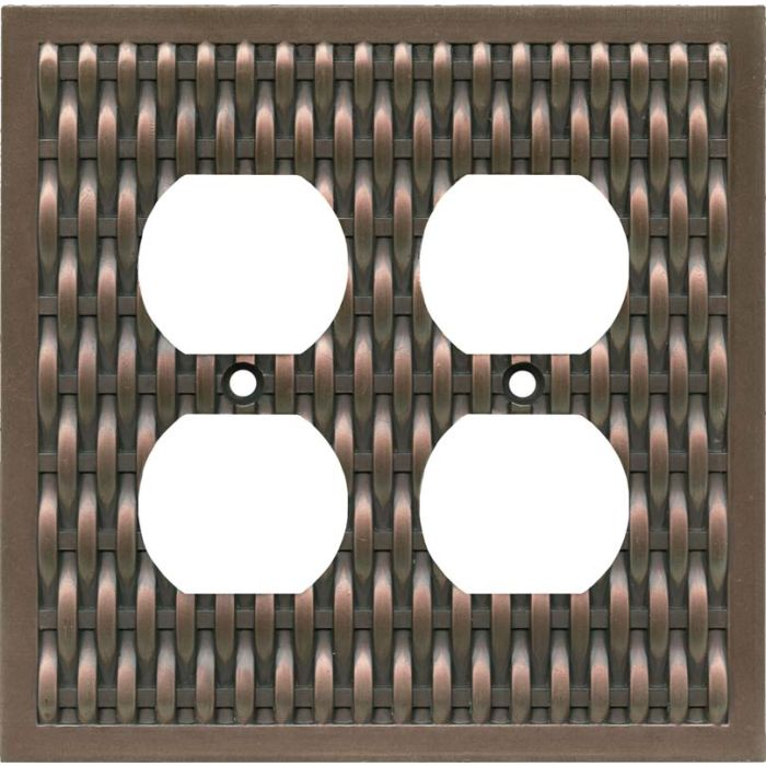 Basketweave Antique Copper 2 Gang Duplex Outlet Wall Plate Cover
