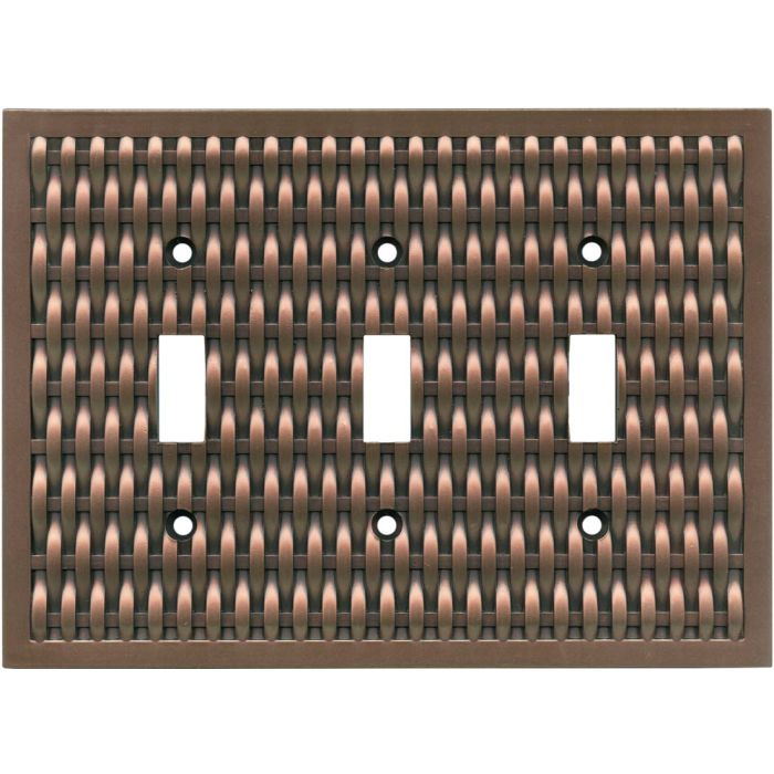 Basketweave Antique Copper Triple 3 Toggle Light Switch Covers