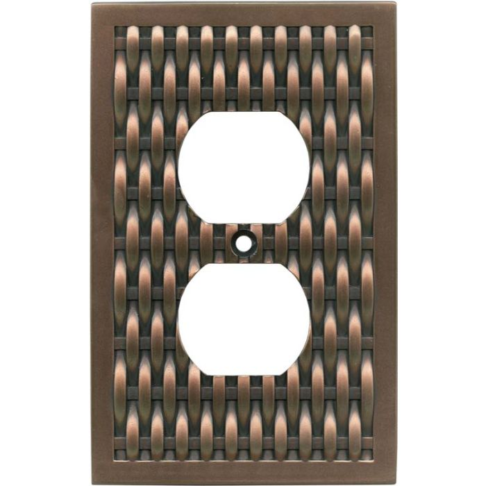 Basketweave Antique Copper 1 Gang Duplex Outlet Cover Wall Plate
