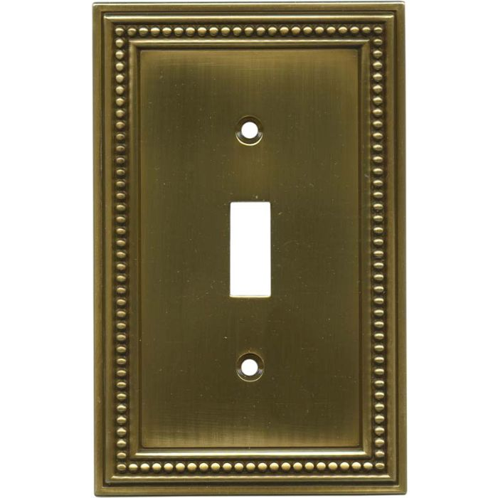 Beaded Tumbled Antique Brass Single 1 Toggle Light Switch Plates