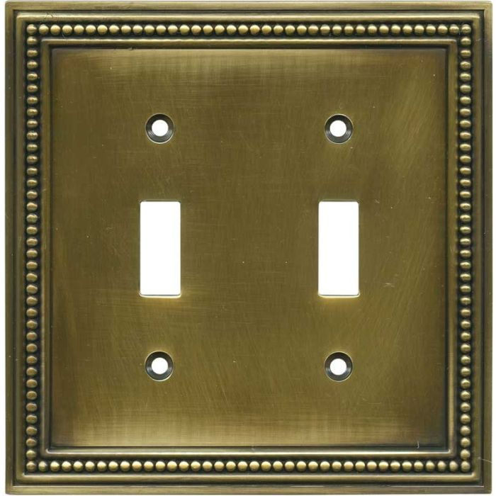 Beaded Tumbled Antique Brass Double 2 Toggle Switch Plate Covers