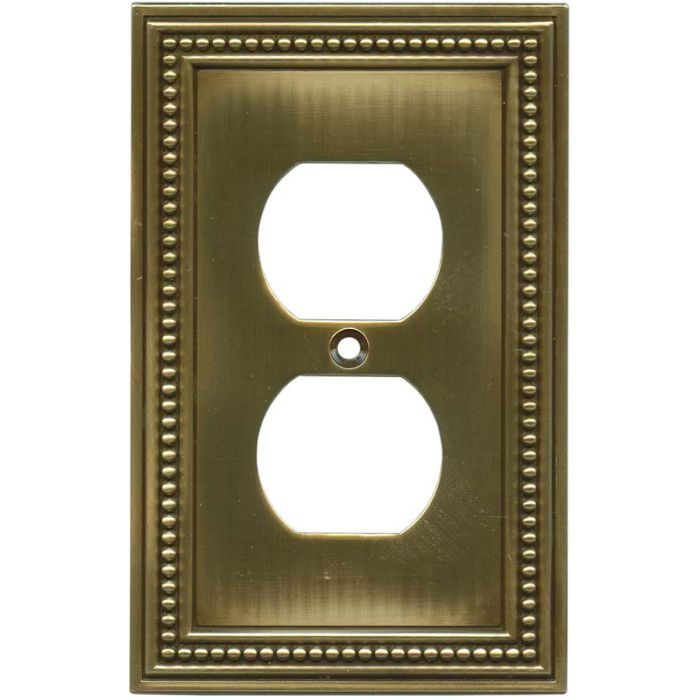 Beaded Tumbled Antique Brass 1 Gang Duplex Outlet Cover Wall Plate