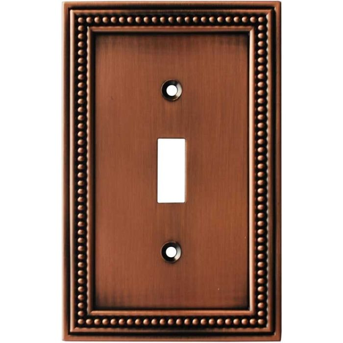 Beaded Aged Brushed Copper Single 1 Toggle Light Switch Plates