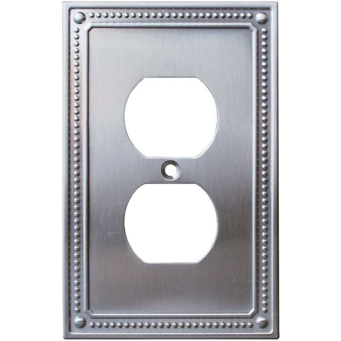 Beaded Satin Nickel 1 Gang Duplex Outlet Cover Wall Plate