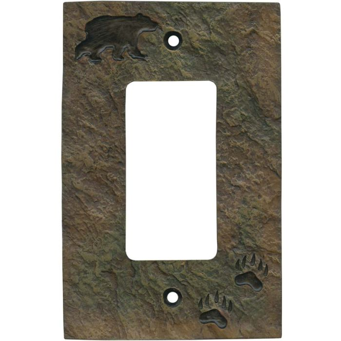 Bear and Tracks Single 1 Gang GFCI Rocker Decora Switch Plate Cover