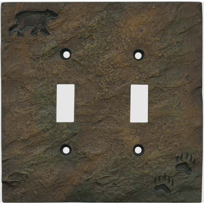 Bear and Tracks Double 2 Toggle Switch Plate Covers