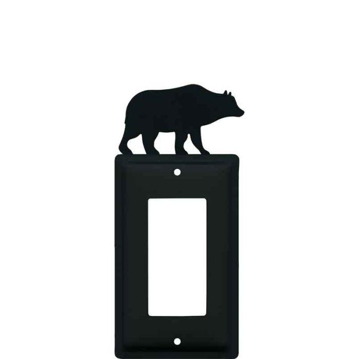 Bear Black Single 1 Gang GFCI Rocker Decora Switch Plate Cover