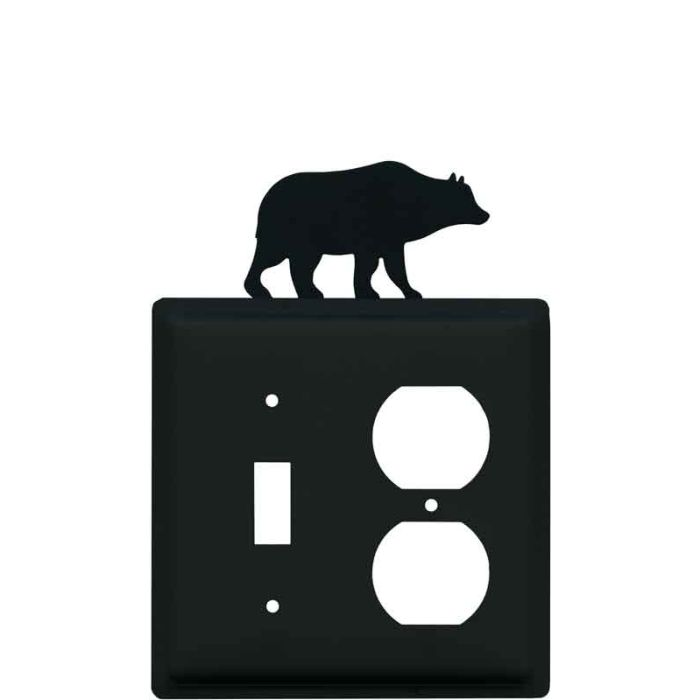 Bear Black Combination 1 Toggle / Outlet Cover Plates