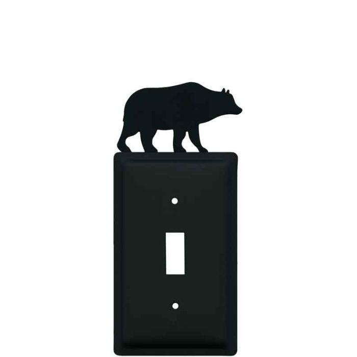 Bear Black Single 1 Toggle Light Switch Plates