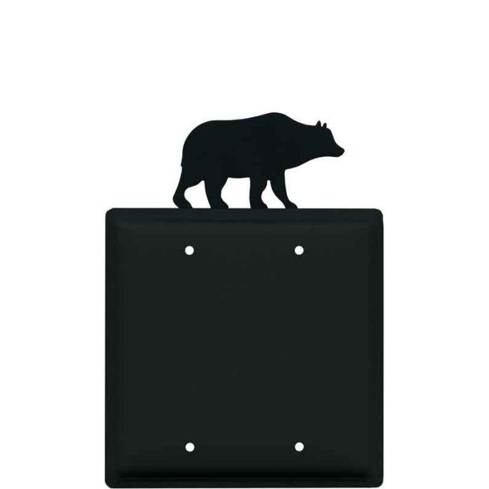 Bear Black Double Blank Wallplate Covers