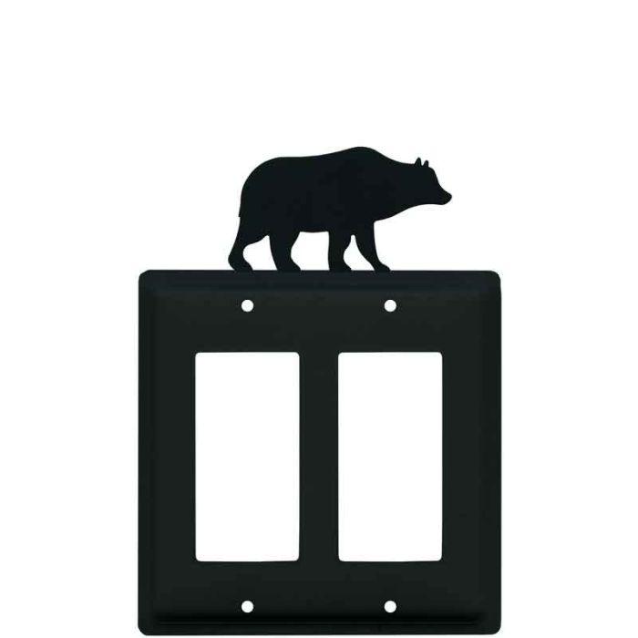 Bear Black 2 Gang Double GFCI Rocker Decorator Wallplates