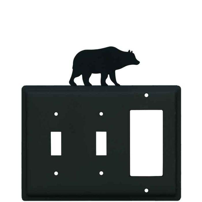 Bear Black Double 2 Toggle / 1 GFCI Rocker Combo Switchplates