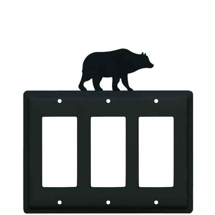 Bear Black Triple 3 Rocker GFCI Decora Light Switch Covers