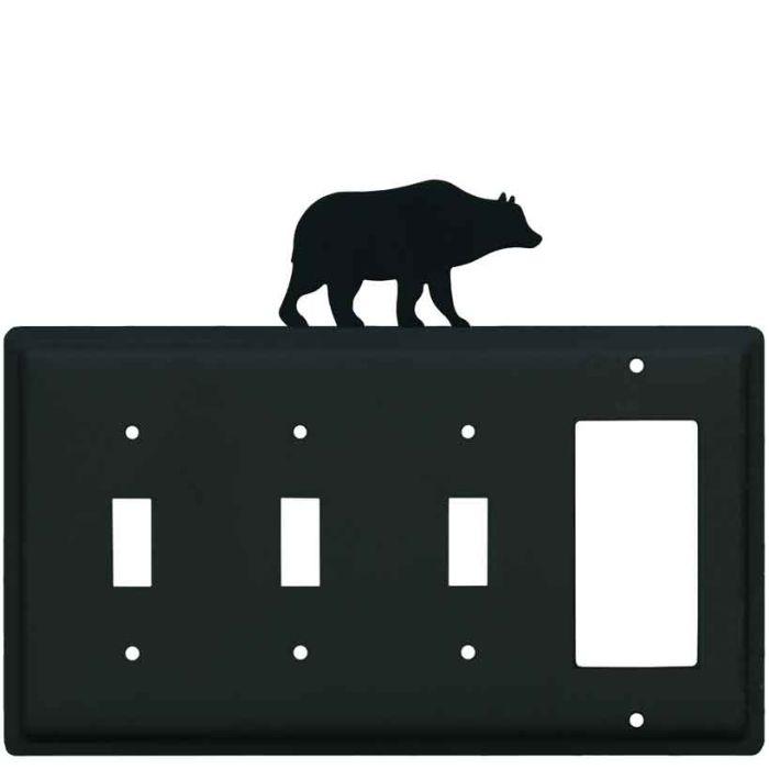 Bear Black Triple 3 Toggle / 1 Rocker GFCI Switch Covers