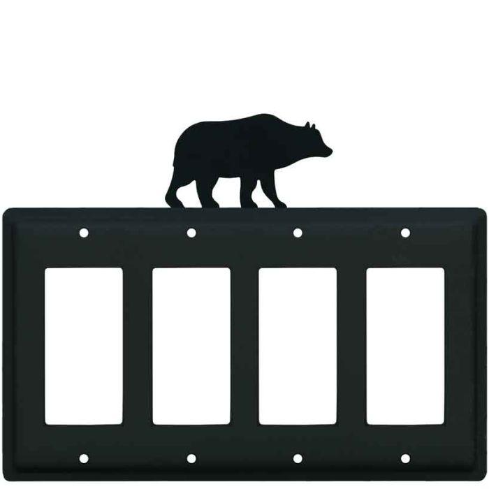 Bear Black 4 Rocker GFCI Decorator Switch Plates