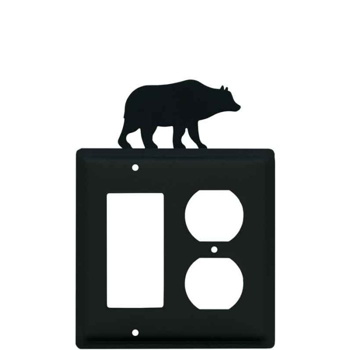 Bear Black Combination GFCI Rocker / Duplex Outlet Wall Plates