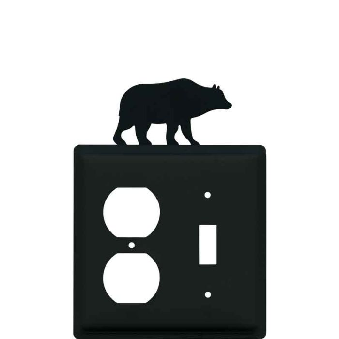Bear Black 1-Duplex / 1-Toggle - Combination Wall Plates