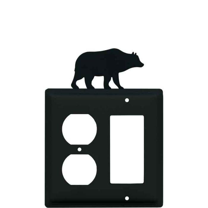 Bear Black 1-Duplex / 1 Decorator Rocker - Combination Switch Cover