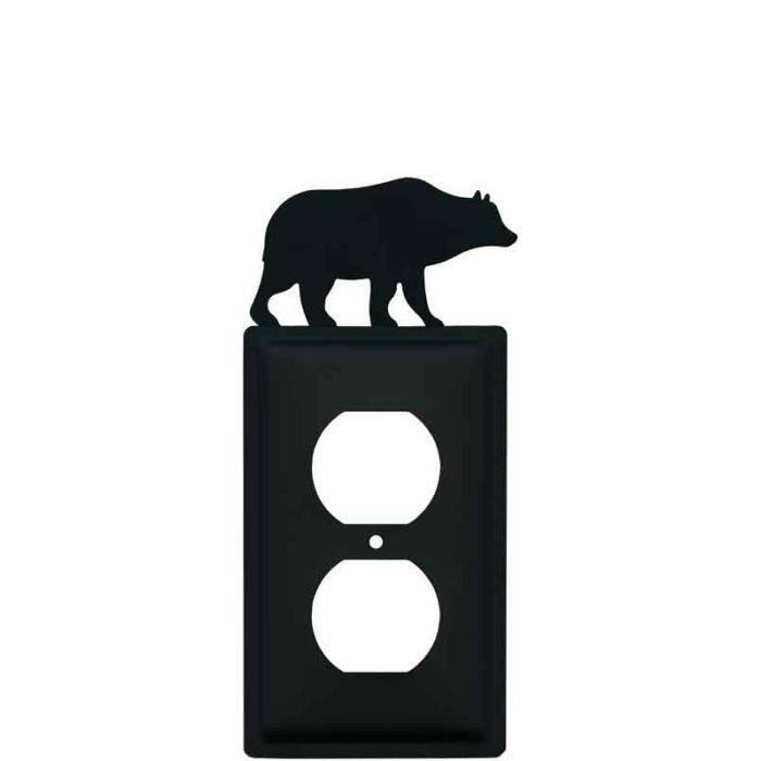 Bear Black 1 Gang Duplex Outlet Cover Wall Plate