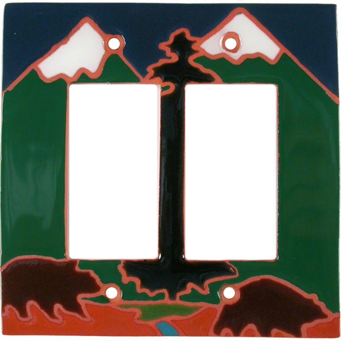 Bear Mountain2 Gang Decorator / GFCI Rocker Wall Plate Cover