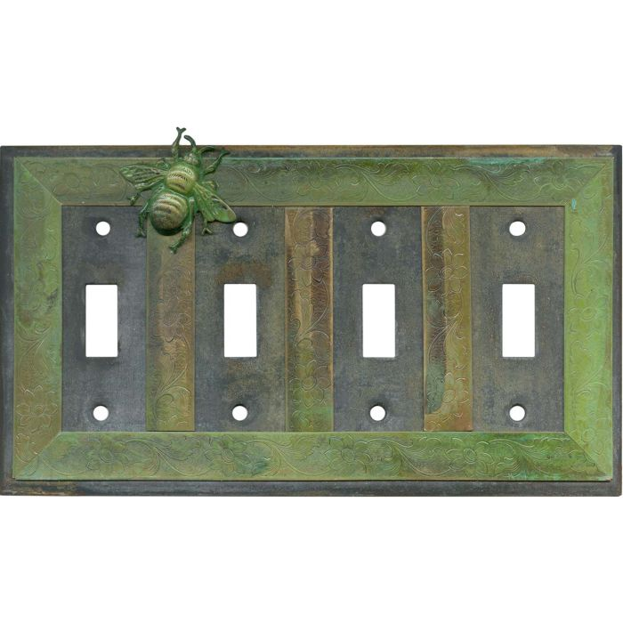 Bee Quad 4 Toggle Light Switch Covers
