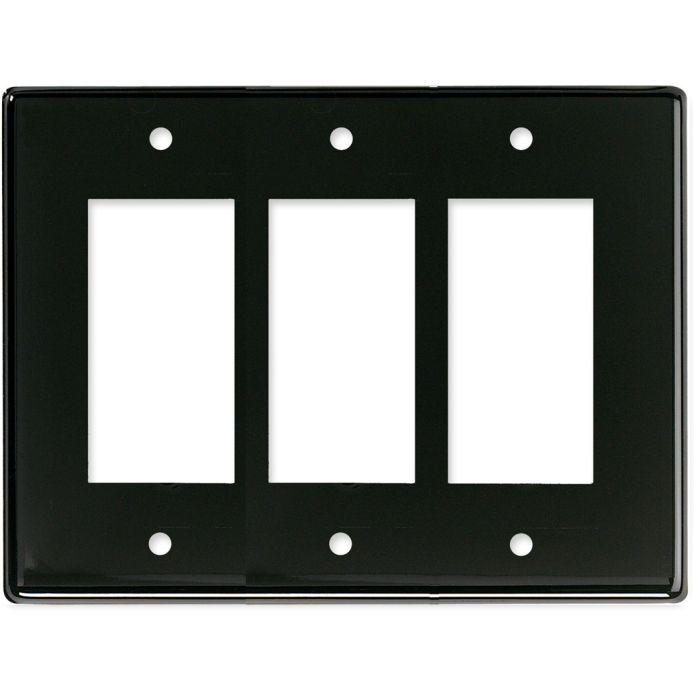 Bella Plain Gloss Black Triple 3 Rocker GFCI Decora Light Switch Covers
