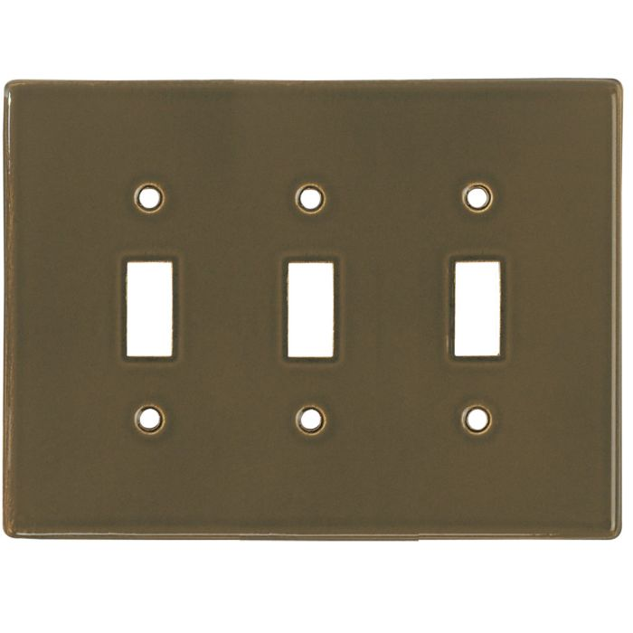 Bella Plain Venetian Brown Triple 3 Toggle Light Switch Covers