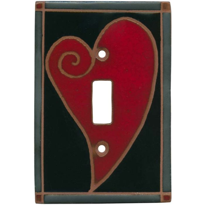 Big Red Heart Single 1 Toggle Light Switch Plates