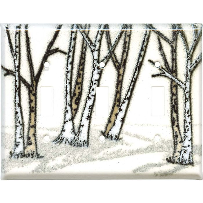 Birches Triple 3 Toggle Light Switch Covers