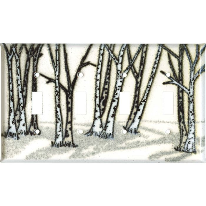 Birches Quad 4 Toggle Light Switch Covers